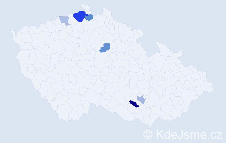 Příjmení: 'Janačíková', počet výskytů 12 v celé ČR