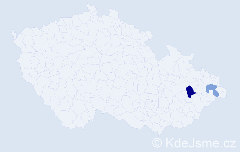 Příjmení: 'Lazíková', počet výskytů 5 v celé ČR