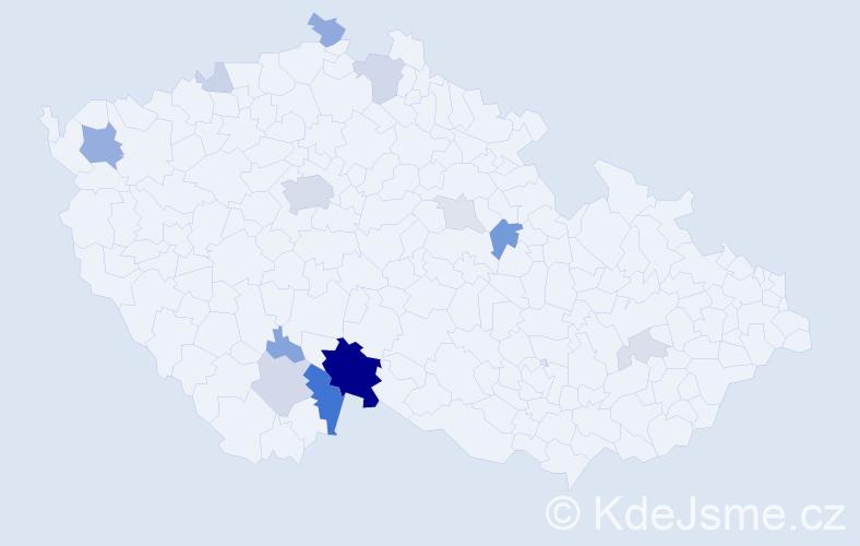 Příjmení: 'Hroděj', počet výskytů 46 v celé ČR