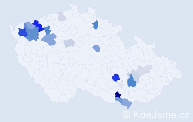 Příjmení: 'Cerovská', počet výskytů 50 v celé ČR
