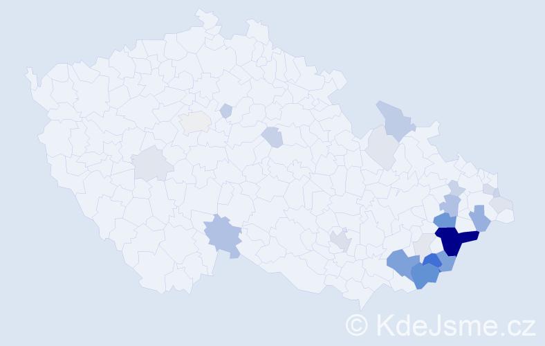Příjmení: 'Gášková', počet výskytů 94 v celé ČR