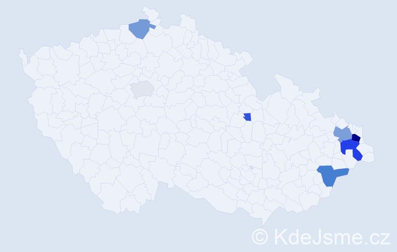 Příjmení: 'Galač', počet výskytů 25 v celé ČR