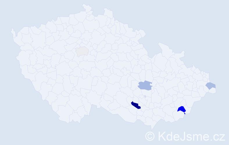 Příjmení: 'Jínková', počet výskytů 8 v celé ČR