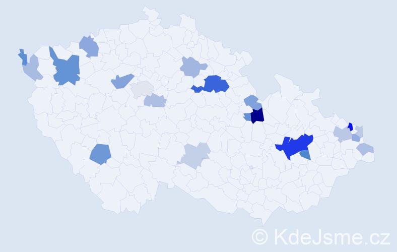 Příjmení: 'Cimprich', počet výskytů 53 v celé ČR