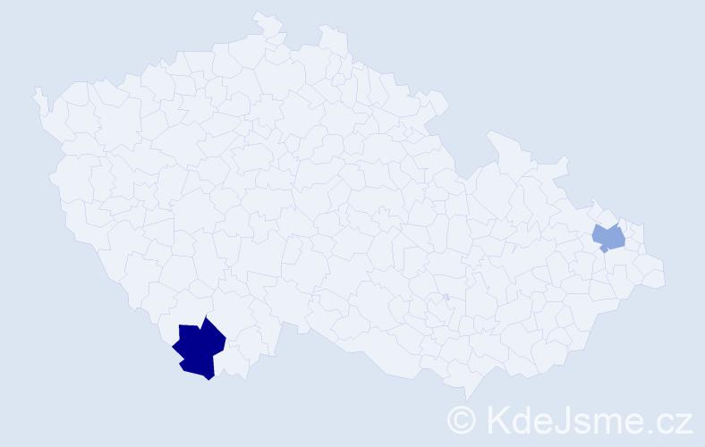 Příjmení: 'Jacová', počet výskytů 4 v celé ČR