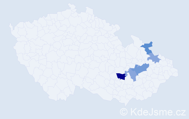 Příjmení: 'Kajtárová', počet výskytů 8 v celé ČR