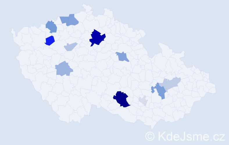 Příjmení: 'Antošková', počet výskytů 28 v celé ČR