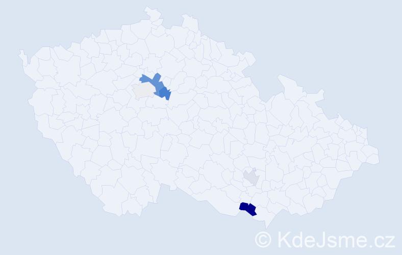 Příjmení: 'Kaprelová', počet výskytů 8 v celé ČR