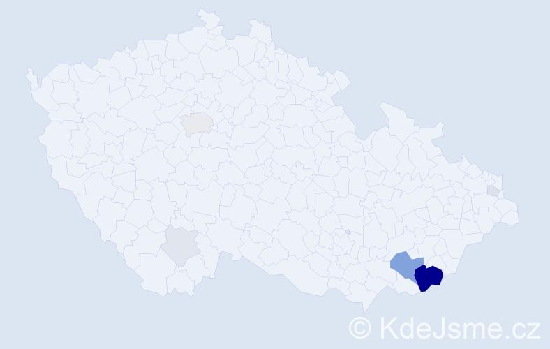 Příjmení: 'Habáníková', počet výskytů 27 v celé ČR