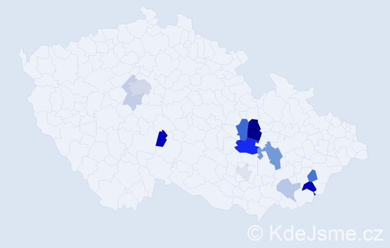 Příjmení: 'Krenar', počet výskytů 24 v celé ČR