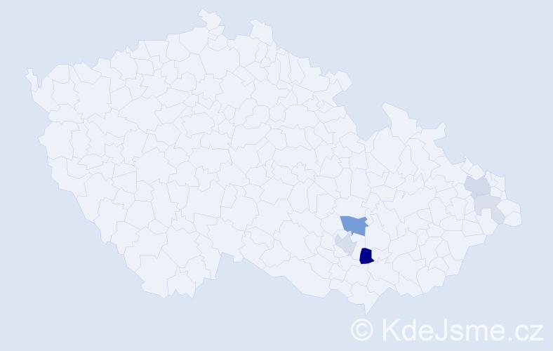 Příjmení: 'Kleka', počet výskytů 16 v celé ČR