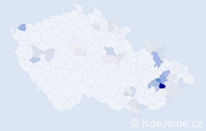 Příjmení: 'Chlápek', počet výskytů 90 v celé ČR