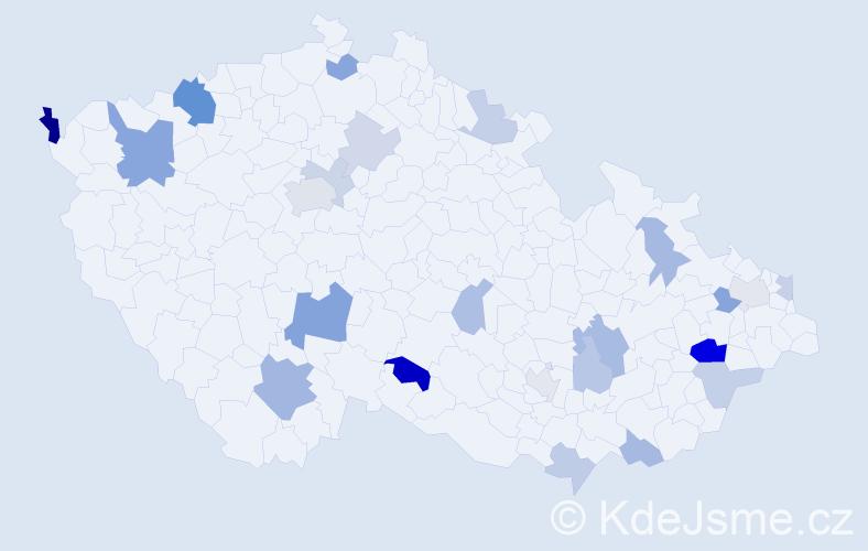 Příjmení: 'Jánošková', počet výskytů 45 v celé ČR
