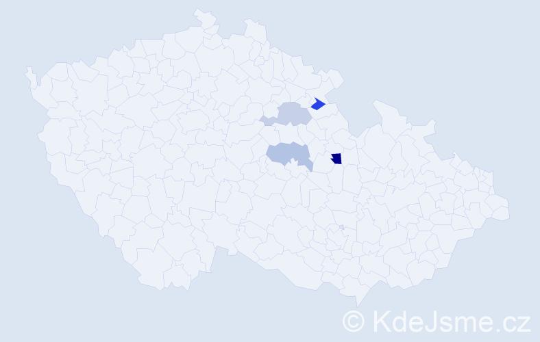 Příjmení: 'Čečer', počet výskytů 5 v celé ČR
