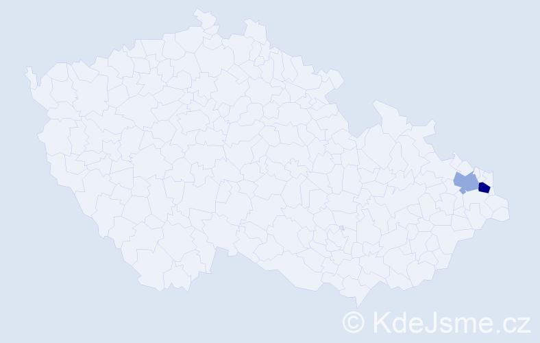 Příjmení: 'Jařmík', počet výskytů 3 v celé ČR