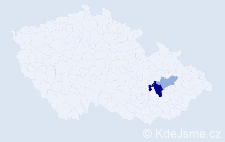 Příjmení: 'Činochová', počet výskytů 5 v celé ČR