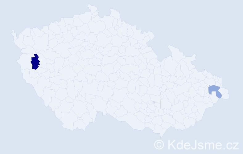 Příjmení: 'Bujňaková', počet výskytů 2 v celé ČR
