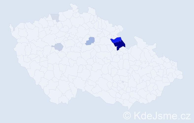 Příjmení: 'Lunková', počet výskytů 13 v celé ČR