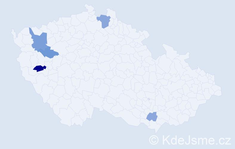 Příjmení: 'Čurhová', počet výskytů 11 v celé ČR