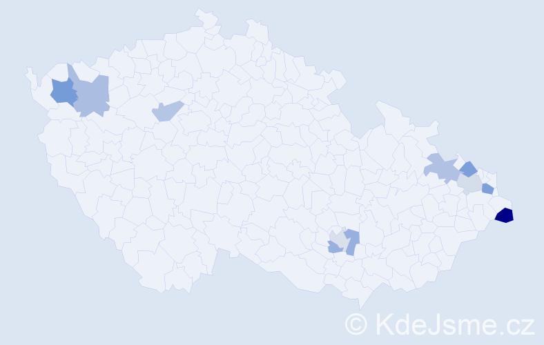 Příjmení: 'Bakan', počet výskytů 13 v celé ČR