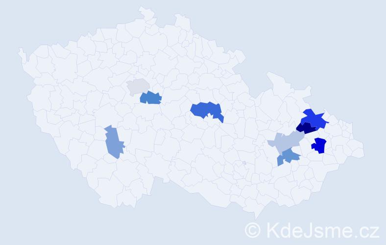 Příjmení: 'Hýnarová', počet výskytů 19 v celé ČR