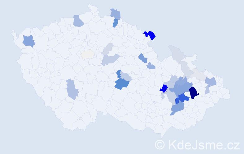 Příjmení: 'Čuriová', počet výskytů 136 v celé ČR