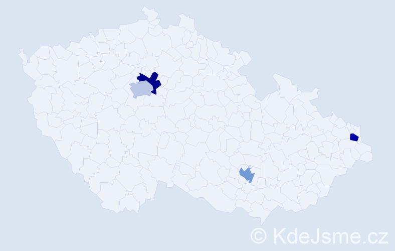 Příjmení: 'Jevula', počet výskytů 4 v celé ČR