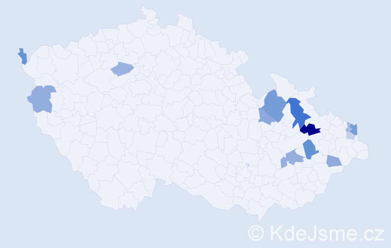Příjmení: 'Bednarský', počet výskytů 22 v celé ČR