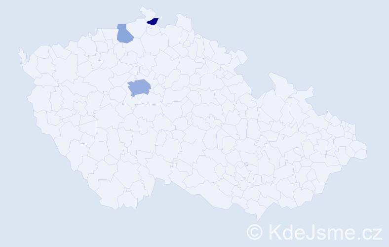 Příjmení: 'Bentley', počet výskytů 8 v celé ČR