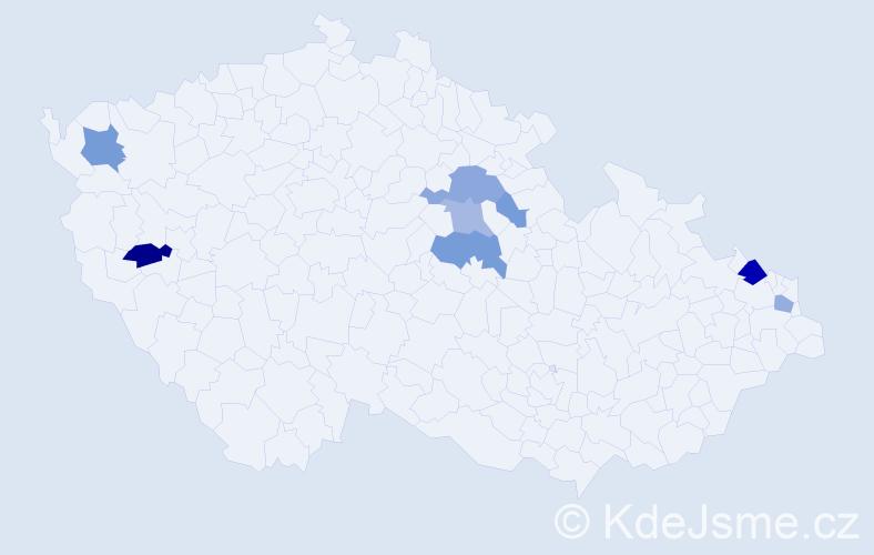 Příjmení: 'Čavajdová', počet výskytů 22 v celé ČR