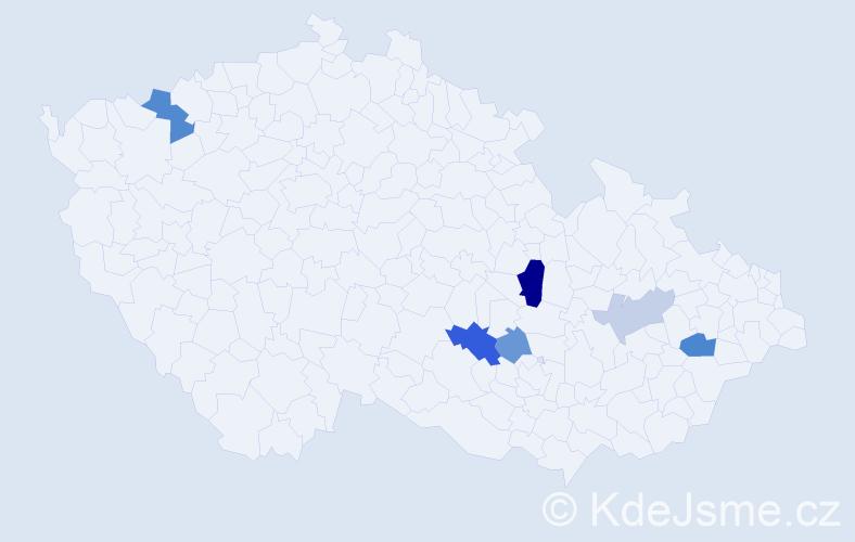 Příjmení: 'Klešč', počet výskytů 11 v celé ČR