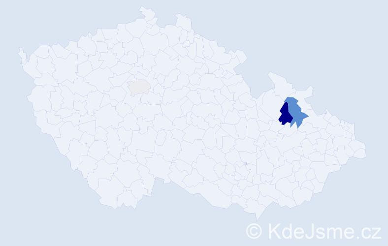 Příjmení: 'Hálko', počet výskytů 5 v celé ČR