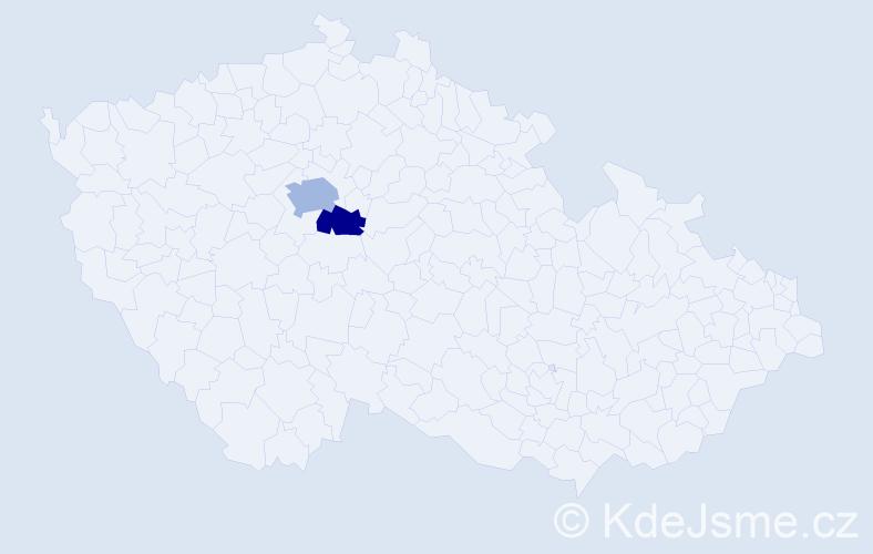 Příjmení: 'Leneček', počet výskytů 3 v celé ČR
