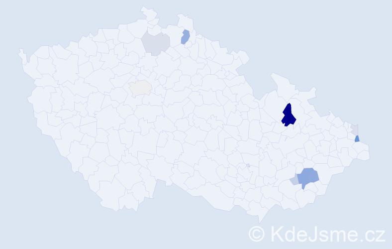 Příjmení: 'Kladníček', počet výskytů 22 v celé ČR