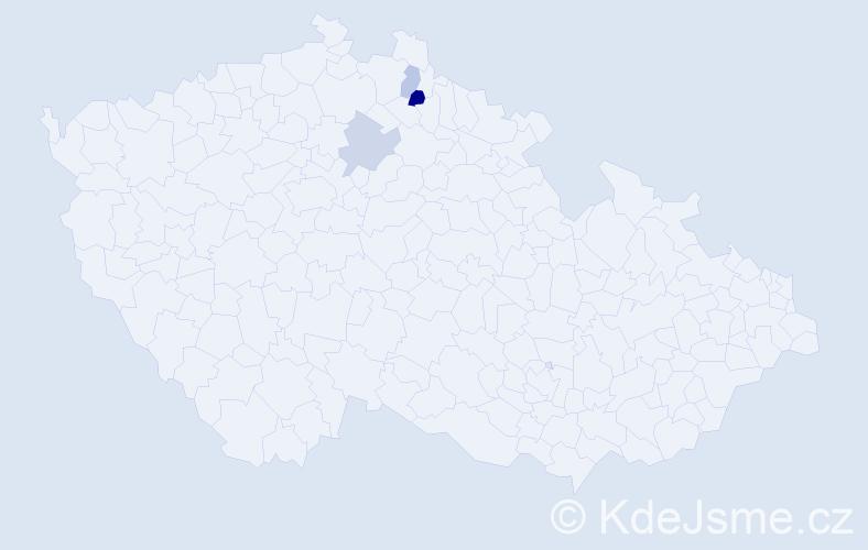 Příjmení: 'Daničková', počet výskytů 8 v celé ČR