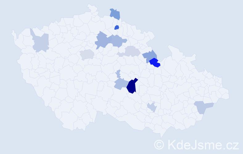 Příjmení: 'Enderlová', počet výskytů 27 v celé ČR