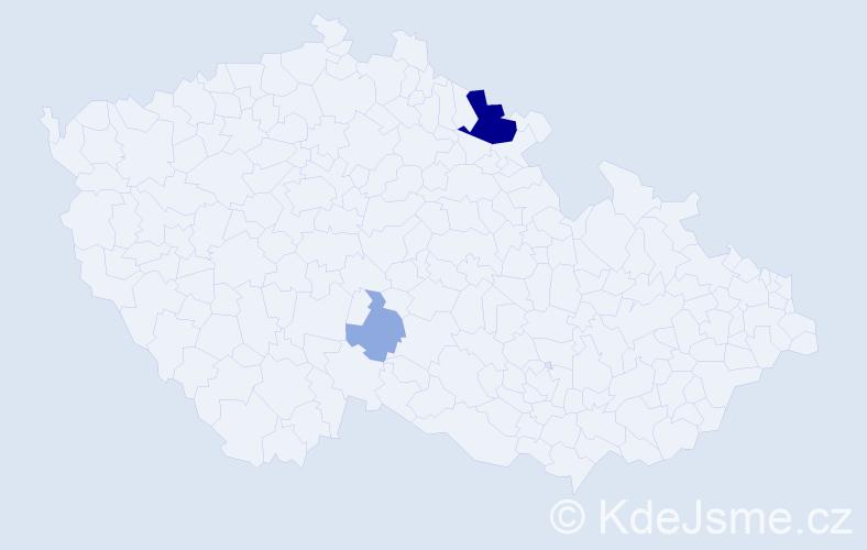 Příjmení: 'Felkerová', počet výskytů 8 v celé ČR