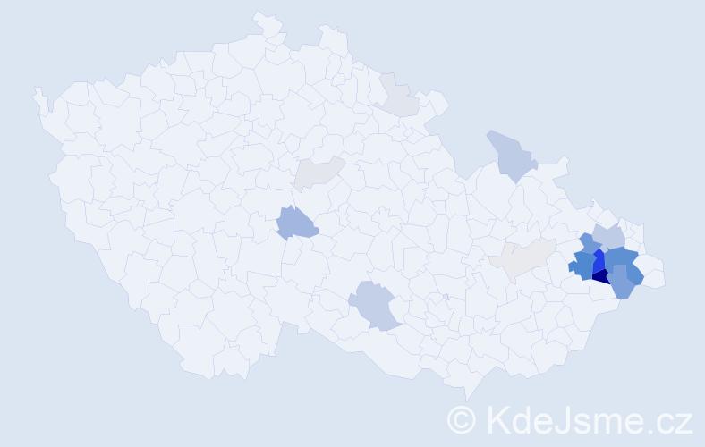 Příjmení: 'Ermis', počet výskytů 77 v celé ČR