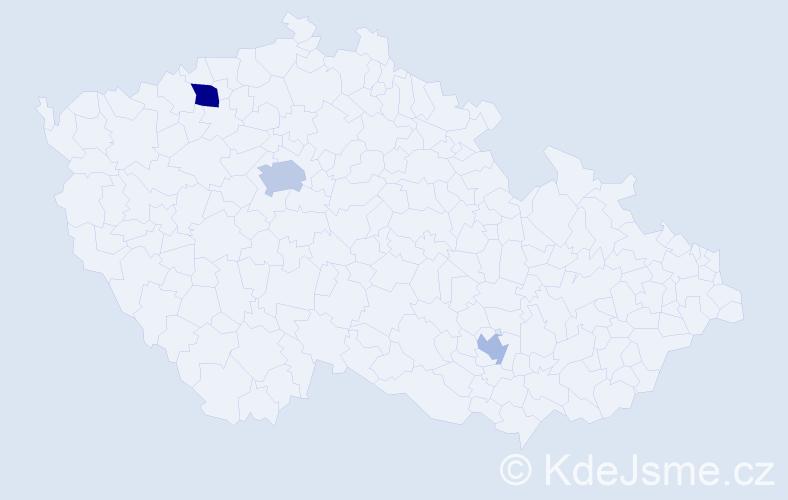 Příjmení: 'Bomar', počet výskytů 5 v celé ČR