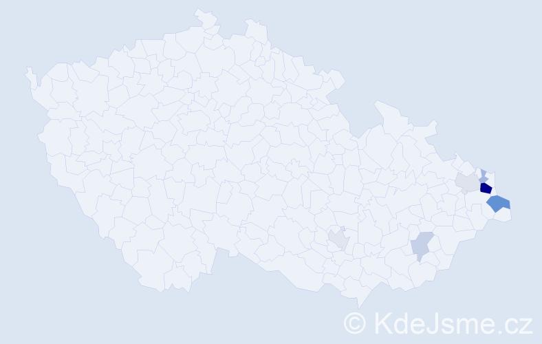 Příjmení: 'Cygonek', počet výskytů 18 v celé ČR