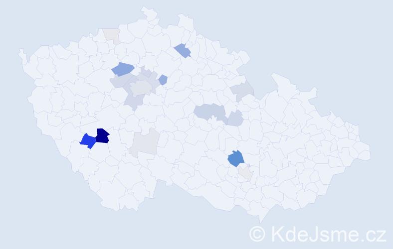 Příjmení: 'Frýzková', počet výskytů 57 v celé ČR
