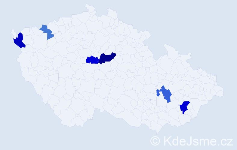 Příjmení: 'Fagoš', počet výskytů 13 v celé ČR
