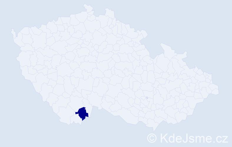 """Příjmení: '""""Cary Jakubcová""""', počet výskytů 1 v celé ČR"""