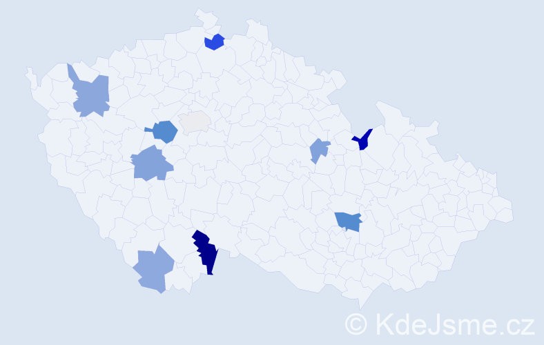 Příjmení: 'Belanský', počet výskytů 19 v celé ČR