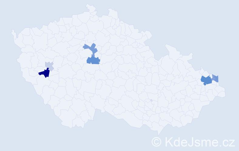 Příjmení: 'Juroško', počet výskytů 18 v celé ČR