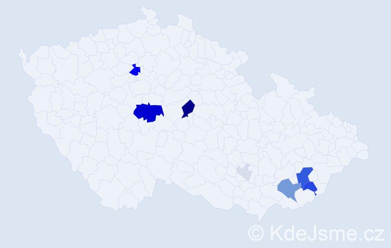 Příjmení: 'Dírerová', počet výskytů 16 v celé ČR