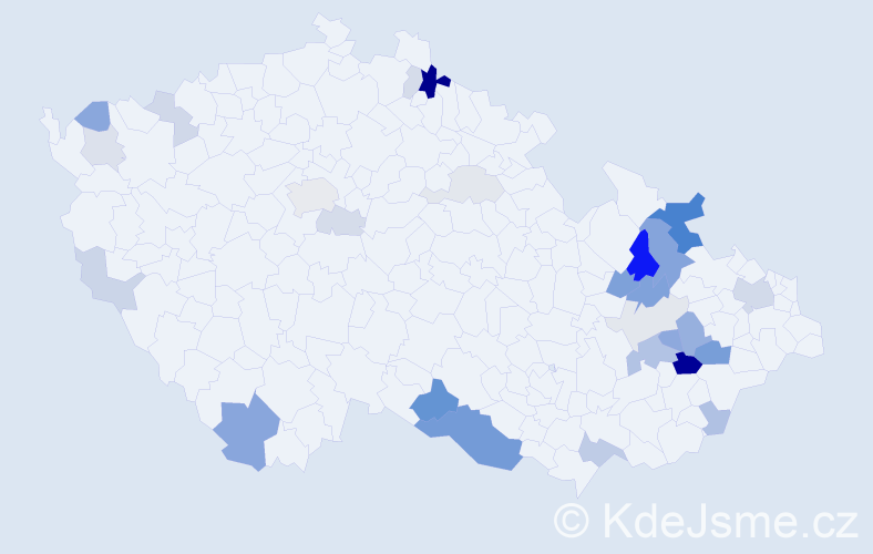 Příjmení: 'Bajcarová', počet výskytů 73 v celé ČR