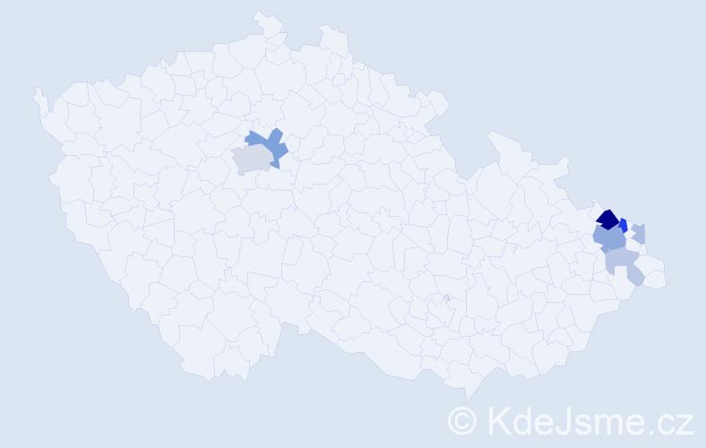 Příjmení: 'Antončíková', počet výskytů 18 v celé ČR
