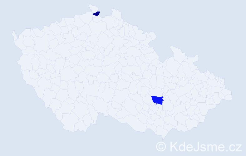 Příjmení: 'Barič', počet výskytů 6 v celé ČR