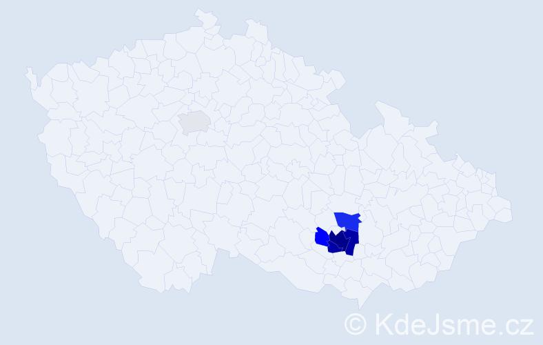 Příjmení: 'Kieselová', počet výskytů 19 v celé ČR